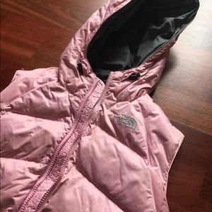 Pink the north face puffer vest
